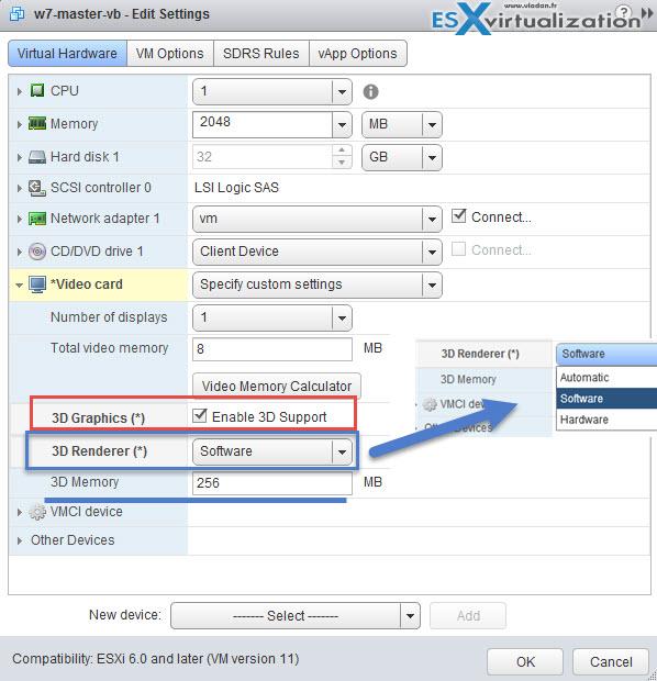 Virtual Hardware 11 - 3D settings through vSphere Web client