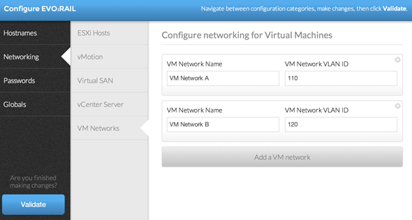 EVO: RAIL - VM networking configuration