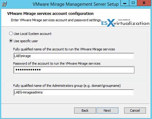 VMware Mirage installation