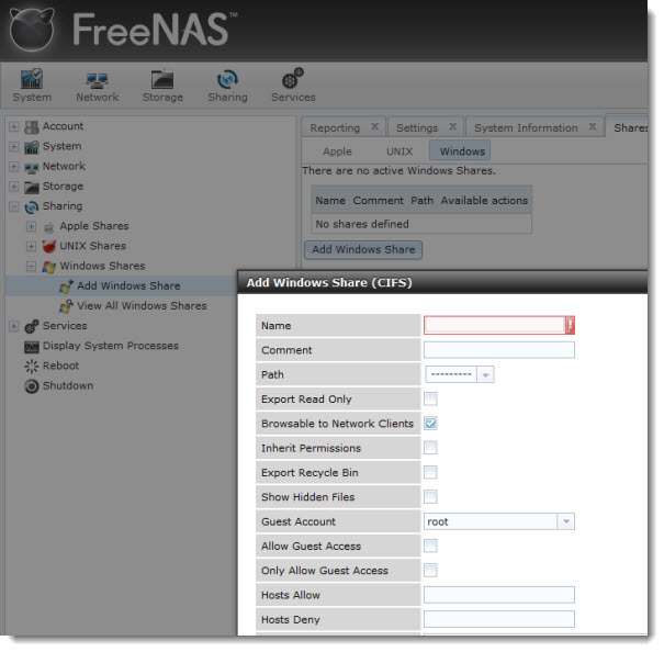 How to Install and configure FreeNAS 8 - add windows share