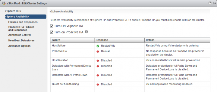 Activate VMware HA and Proactive HA
