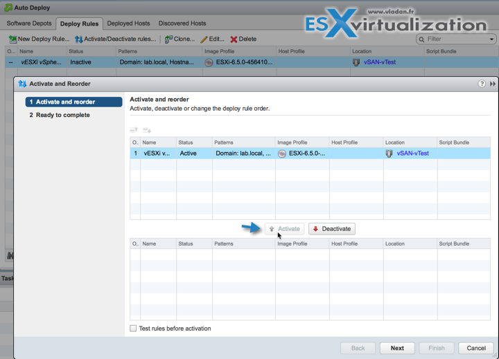 Activate and Order AutoDeploy Rule in vSphere 6.5