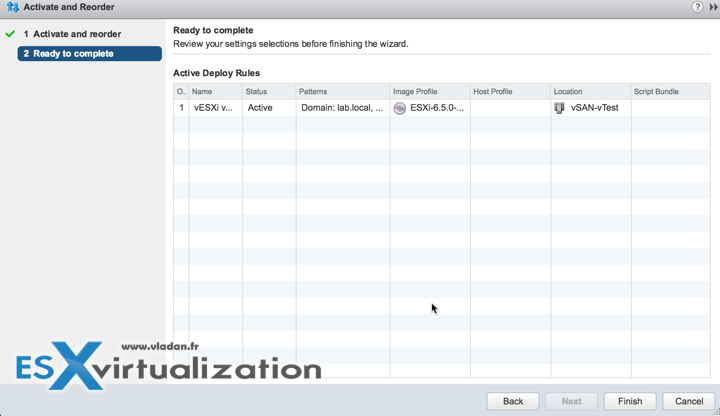 Activate and reorder AutoDeploy rules in vSphere 6.5