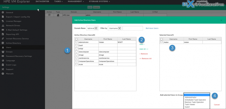 Add AD users to HPE VM Explorer