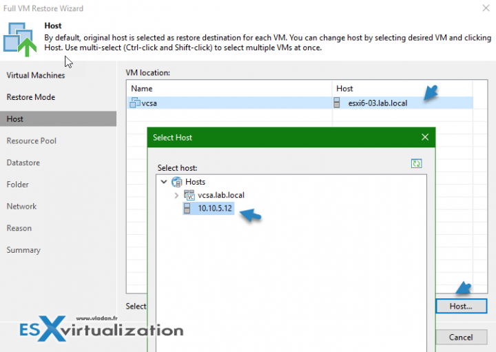 Chose Individual Host within the restore assistant at Veeam Backup and Replication v9.5