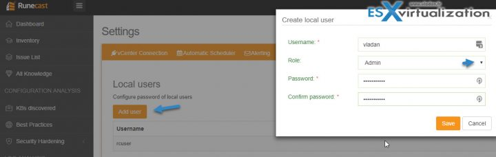 Runecast Analyzer Add new user
