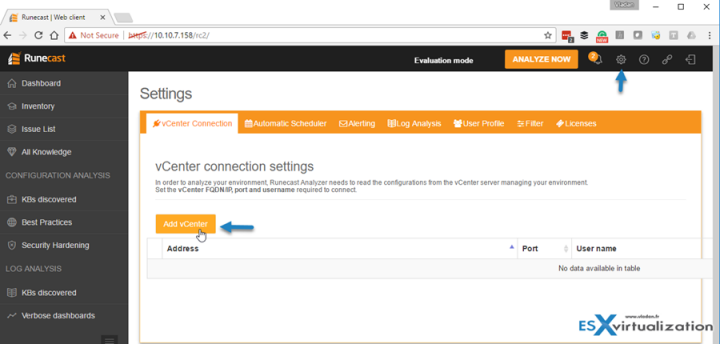 Add vCenter Server To Runecast Analyzer