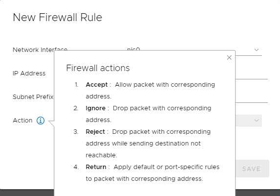 Add new firewall rule in VMware VCSA