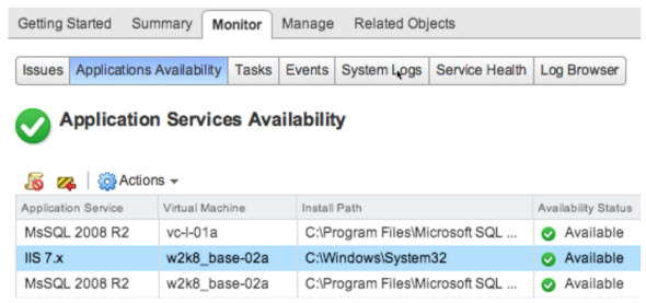 vSphere AppHA - Services availability