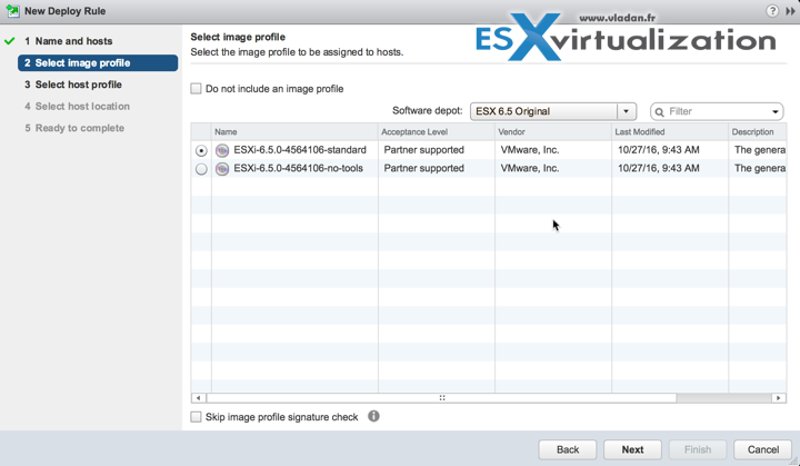 AutoDeploy vSphere 6.5 and Selection of Image Profile