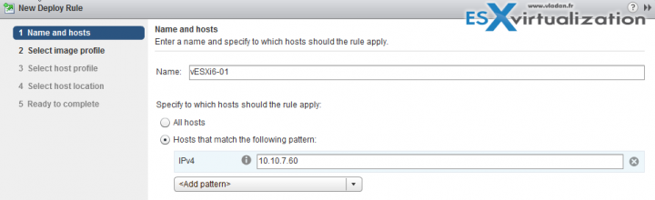 Autodeploy rule in vSphere 6.5