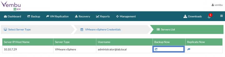 Backup VMware vSphere with Vembu BDR - Backup Now Icon