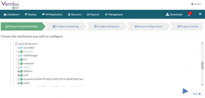 Backup VMware vSphere with Vembu BDR - VM selection
