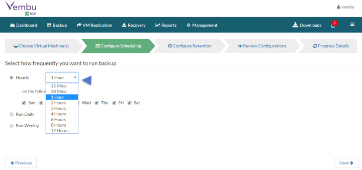Backup VMware vSphere with Vembu BDR - pick a schedule