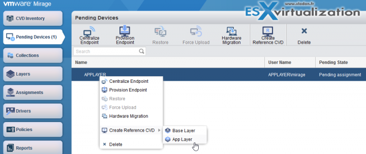 Capture VMware Mirage Application Layer