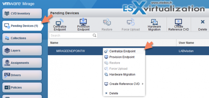 VMware Mirage Centralize endpoint
