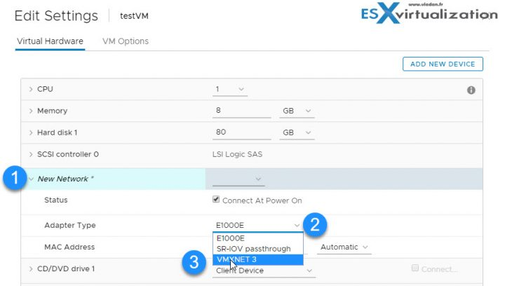 How To Change E1000 into VMXNET3 without changing a MAC