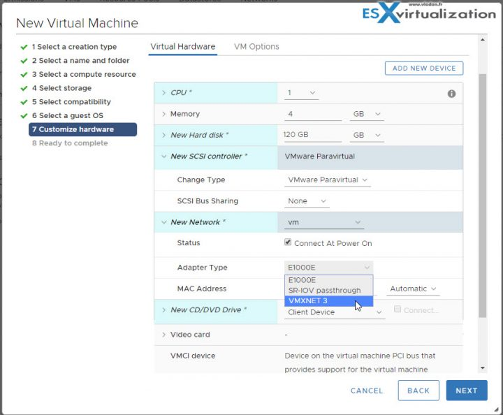 Change the vNIC to VMXNET 3