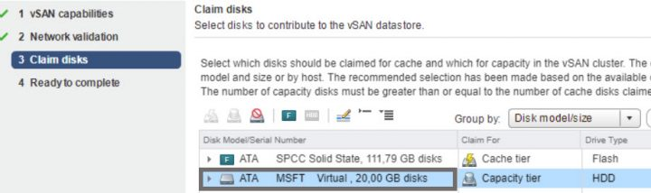Claim disks for vSAN