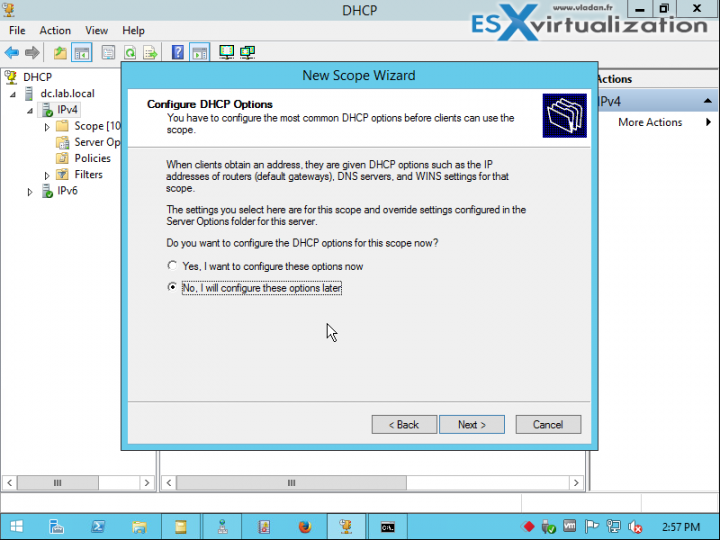 Configure DHCP options later