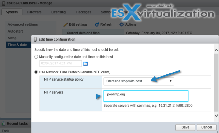 Configure NTP on ESXi host via host client
