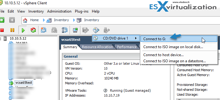Connect ISO to VMware VCSA