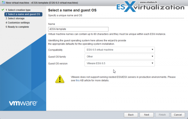 Create an ESXi 6.5 template for nested virtualization