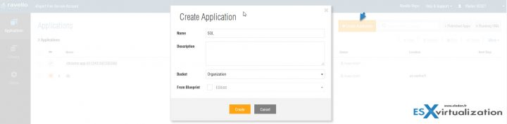 Create application at Ravello