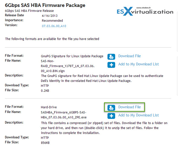 DELL 6Gbps SAS HBA Firmware Package