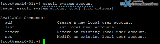 VCP6.5-DCV - ESXCli system account for local account managemetn