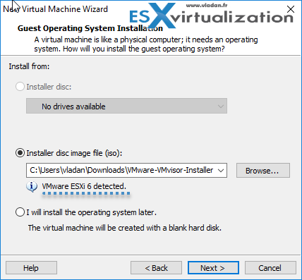ESXi 6.5 ISO selected and ESXi 6.0 detected