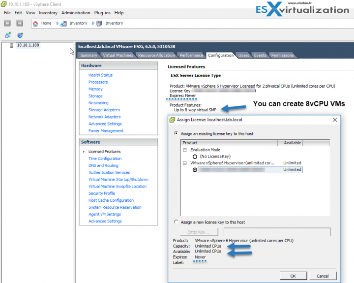 VMware ESXi Free License with available features