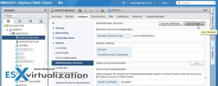 VCP6.5-DCV - Add an ESXi host to an AD domain