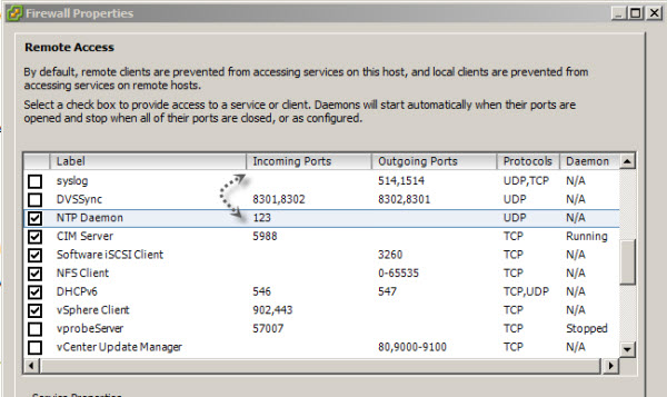 ESXi Firewall Inbound traffic rule