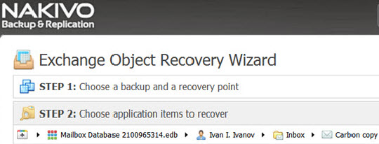 Nakivo Exchange Object Recovery Wizard