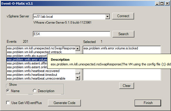 Event O matic New Free Script (with GUI) called Event O Matic to pick an event to generate a PowerShell Code