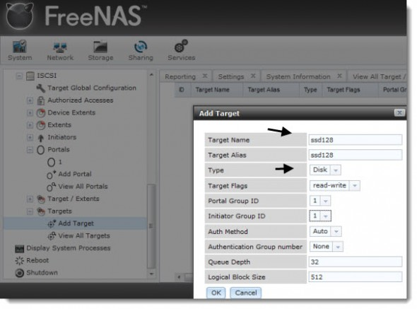 FREENAS8 iSCSI target 590x437 How to configure FreeNAS 8 for iSCSI and connect to ESX(i)