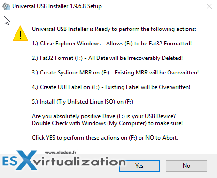 You'll need to format the USB stick - Yes