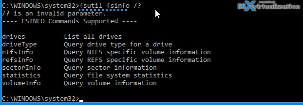 Fsutil fsinfo command to show volume information