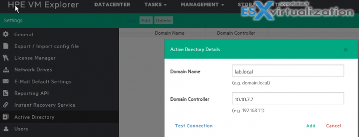 HPE VM Explorer AD Settings