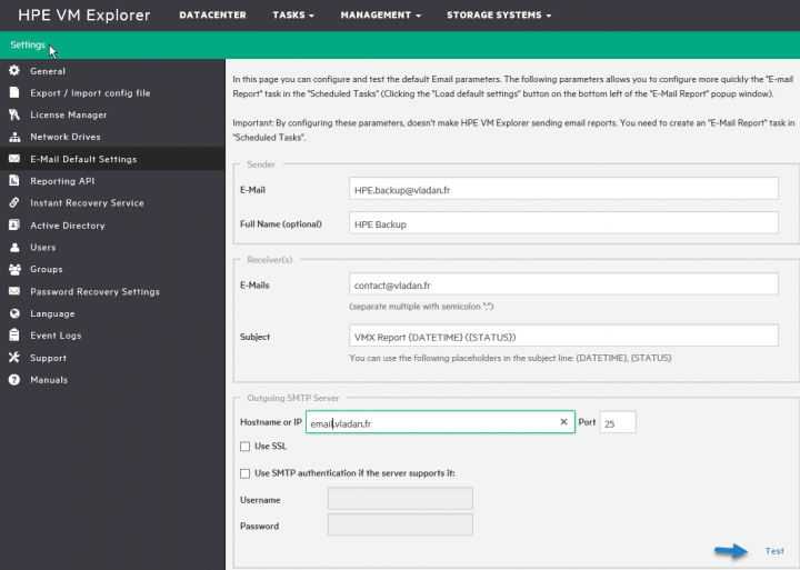 HPE VM Explorer Product Settings