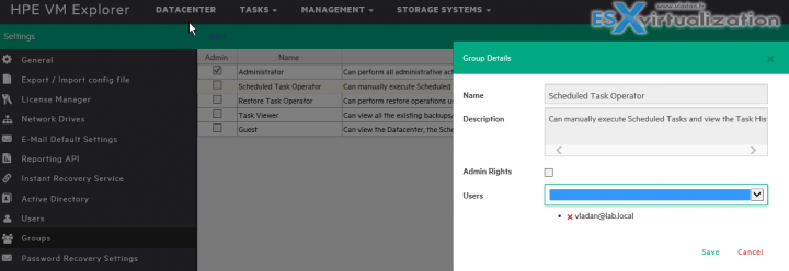HPE VM Explorer Groups Settings