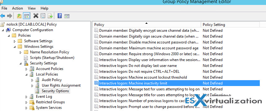 How to Disable Auto Lock on Windows Server via Group policy