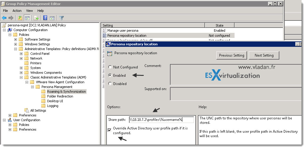 How-to configure VMware View Persona Management | ESX