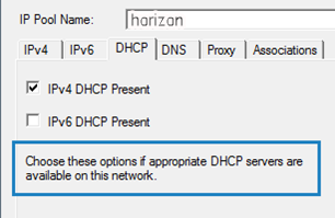 IP Pool DHCP Options