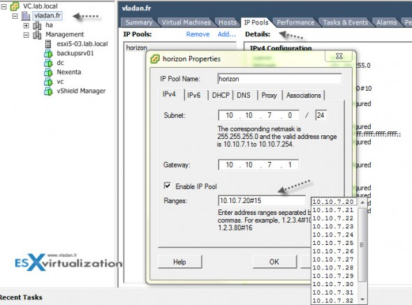 VMware vSphere IP pools configuration