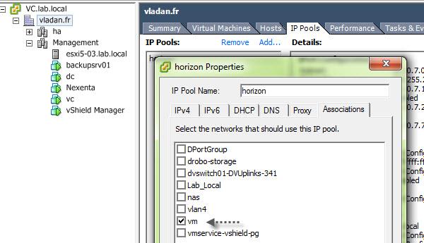 VMware vSphere IP pools config
