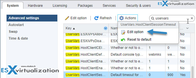 Increase Inactivity Timeout on VMware ESXi Host Client