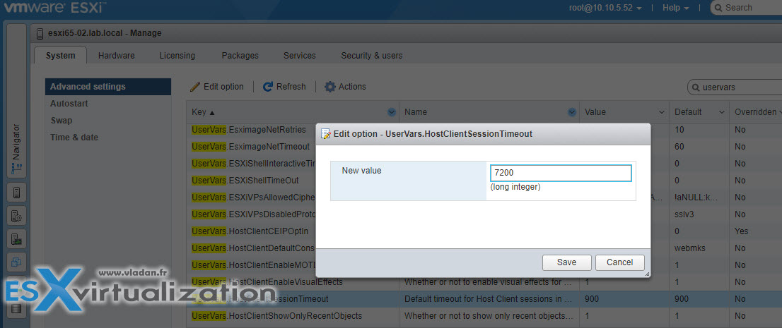 Increase Inactivity Timeout on VMware ESXi Host Client | ESX