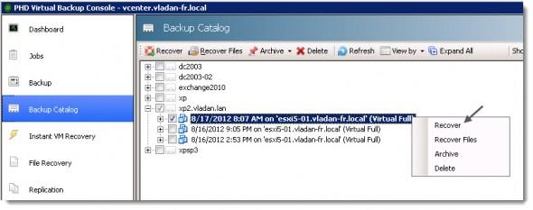 PHD Virtual Backup 6.0 - Instant VM Recovery